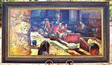 Large Original Oil/ Masonite, Fil Mottola Listed Calif. Artist, Village Washing
