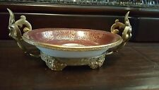 Antique French Gilt Ormolu 22Kt Haviland Limoges Porcelain Compote Bronze Mount