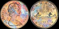 1965 CANADA $1 DOLLAR SILVER 2ND PORTRAIT COLOR TONED COIN IN HIGH GRADE