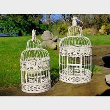 Set of 2 ornate french country birdcage candle holders shabby chic wedding decor