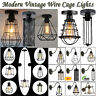 MODERN CEILING LIGHT SHADE PENDANT VINTAGE LAMPSHADE CHANDELIER IRON WIRE CAGE