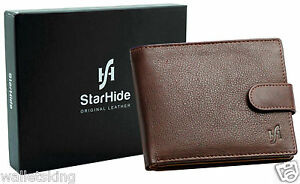 RFID Blocking Men Designer Real Leather Wallet With ID  & Coin Pocket 1075 Brown