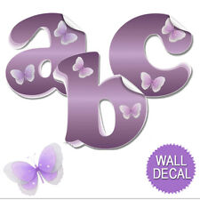 Name Wall Letters Alphabet Stickers Initial Decals Girls Decor Purple Butterfly