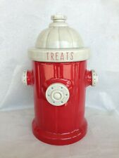 Blue Sky Clayworks Red Fire Hydrant Dog Treat Canister Cookie Jar Pet New