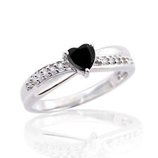 3/4 CT HEART BLACK DIAMOND 14K WHITE GOLD OVER SOLITAIRE RING MOTHER'S DAY GIFT