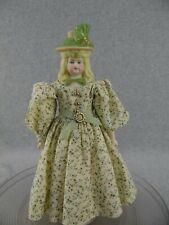 "12"" artist LaMotte antique reproduction bisque head Parian Doll w Molded Hat"