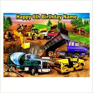 Construction Trucks Edible Image PERSONALISED REAL ICING cake topper decoration