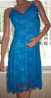 STYLE Blue Lace Overlay Strappy V Neck Summer Party Dress Size L BNWT