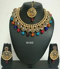 Indian Fashion Pearl Jewelry Bollywood Wedding Bridal Necklace Earrings Sets 312