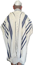 "Kosher Tallit Talis Prayer Shawl 100% Wool 43X63""/110x160cm Blue&silver stripes"