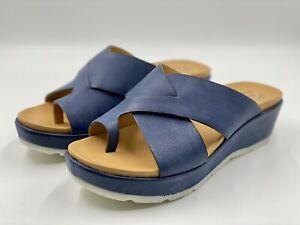 Kork-Ease Baja Sport Leather Wedge Comfort Sandals Navy Blue Size 9M Retail $155
