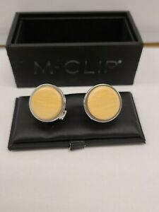 M-Clip Bamboo Wood Round Cufflinks -- Discontinued Style