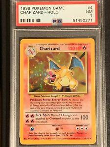 1999 Pokemon Game Base Set Unlimited Charizard Holo 4/102 PSA 7 NM