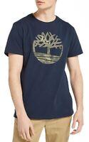 Timberland Kennebec Retro Tree Logo T-shirt Mens Crew Neck Cotton Tee Top Blue