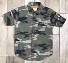 Wrangler Vintage Boys Button Shirt Youth Size XS 4 5 Short Sleeve Woodland Camo