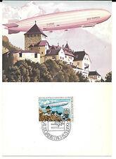 Liechtenstein. Postal del Zeppelin y Tema Europa
