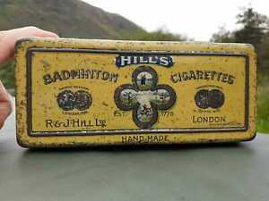 Vintage Cigarettes Tin.  BADMINTON CIGARETTES (r&j hill ltd)   100 Tin