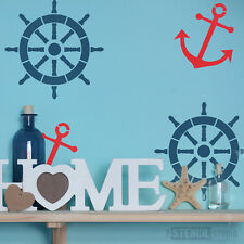 Ships Wheel & Anchor Stencil for home decor & crafts. Nautical reusable 10004S