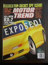 Motor Trend Magazine April 1991 Mazda RX-7 Twin Turbo Cougar W5 GG WW K L Z7