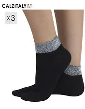 42171a9383f9b 3 Pairs Woman Fashion Cotton Socks, Ankle Socks with Lurex Band, Made in  Italy