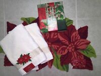 ST.NICHOLAS SQUARE Poinsettia Bath Rug/Shower Curtain/2 Bath Towel Set XMAS NWT
