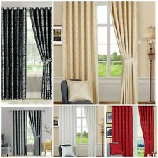 Luxury Jacquard Pencil Pleat  Fully Lined Cleo Curtains Pair- Free Tiebacks.