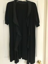 Black Cardigan with ruffle design in Black; Long Length; Pre-Owned; Size M