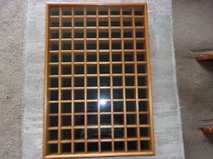 """96 Count Wood Thimble Cabinet with Glass Front Holds 1"""" Thimbles"""