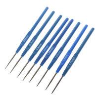 8pcs 0.6-1.75mm Blue Plastic Crochet Hooks Knit Knitting Weave Craft Needles