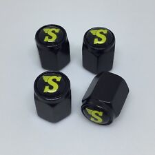 Black Alloy Valve Caps X4 (Speedwell Mini Cooper VW Camper Beetle)