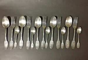 Christofle Delafosse cutlery set, 15 pieces spoons and forks Antique Silverplate