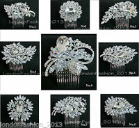 Stunning Crystal Bridal Wedding Prom Party Diamante Hair Comb Clip Side