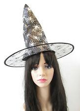 Schwarz & Silber Spinne Hexenhut Halloween Kostüm Damen Mädchen S56