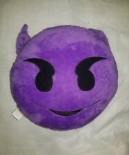 "Children's Purple Emoji Throw Pillow 13"" Plush Smiley with Devil Horns"