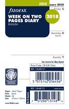 Filofax Mini tamaño 2018 semanas para ver (en 2 páginas) diario Insert Refill 18-68121