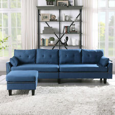 Modern 4-seat L-Shape Sectional Sofa Couch W/Storage Ottoman Bag for Living Room