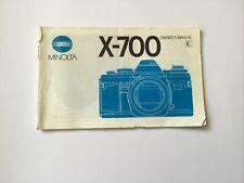 Genuine Minolta X-700 Instruction manual forMinolta X-700 35mm SLR camera