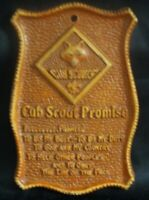 """VINTAGE CUB SCOUT PROMISE WOOD WALL PLAQUE 3""""X5"""" NICE RARE BSA USA"""