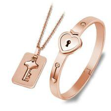 Fashion Titanium Steel Love Heart Lock Couple Bracelet with Key Pendant Necklace