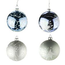 Plastic Star and Spiral Christmas Tree Ornament, Blue/Siilver, 3-Inch, 2 Pack