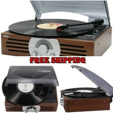Vintage Style Retro Turntable Record Player Portable Stereo Receiver Radio AM FM