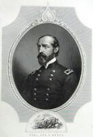 Civil War, Battle of Gettysburg GEORGE GORDON MEADE ~ 1881 Art Print Engraving
