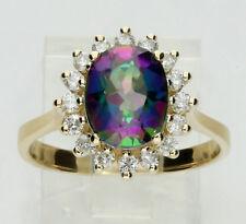 Diamond mystic topaz ring 14K yellow gold halo oval round brilliant 3.50CT sz8.5