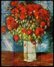 16x20 Poppies Backsplash Mural Tumbled Marble Tiles Kitchen Ideas Van Gogh