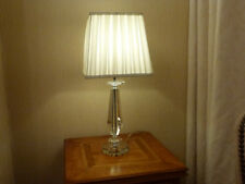 Pack of Two Lead Crystal Table Lamps With Cream Pleated Shade