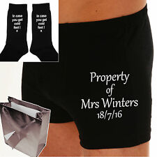 "PERSONALISED BOXER SHORTS & SOCKS Wedding Day Groom Gift ""PROPERTY OF MRS..?"""
