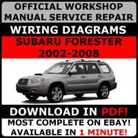 OFFICIAL WORKSHOP Service Repair MANUAL for SUBARU FORESTER 2002-2008 +WIRING