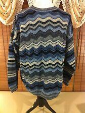 Mens PROTEGE ACRYLIC XXL-2XL 3D Blue Chevron Design Crewneck Sweater VGUC