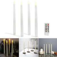 4*battery Operated Flameless Led Taper Candle Lamp Candlestick W/ Remote Control