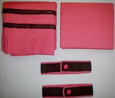Rod Pocket Hot Pink Lined Cotton Panel Curtains Trim Brown Button Tie Back 84x84